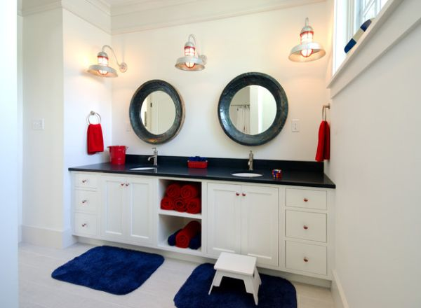 You Could Look Into These Mirrors Hoping To See Waves On The Other Side Unique Bathroom Vanity