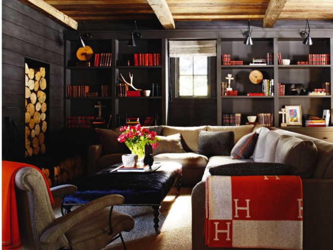 Americana Decor With Black Wooden Wall Cabinet And Modern Sofa