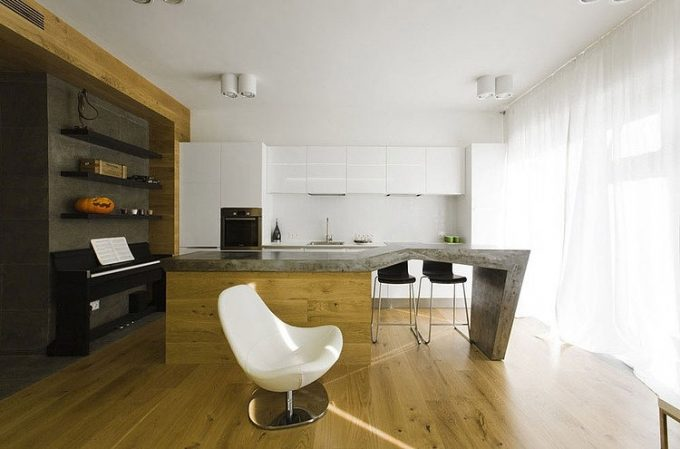 Apartent Za Bor Architects Dubrovka Interior With Minimalist Kitchen Design And Wooden Floor