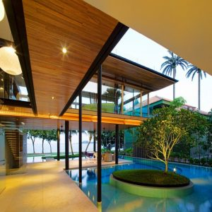 Awesome Hallway With Pool And Sea Scenery