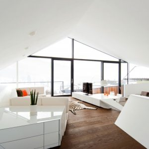 Awesome White Living Room With Wooden Floor Decor
