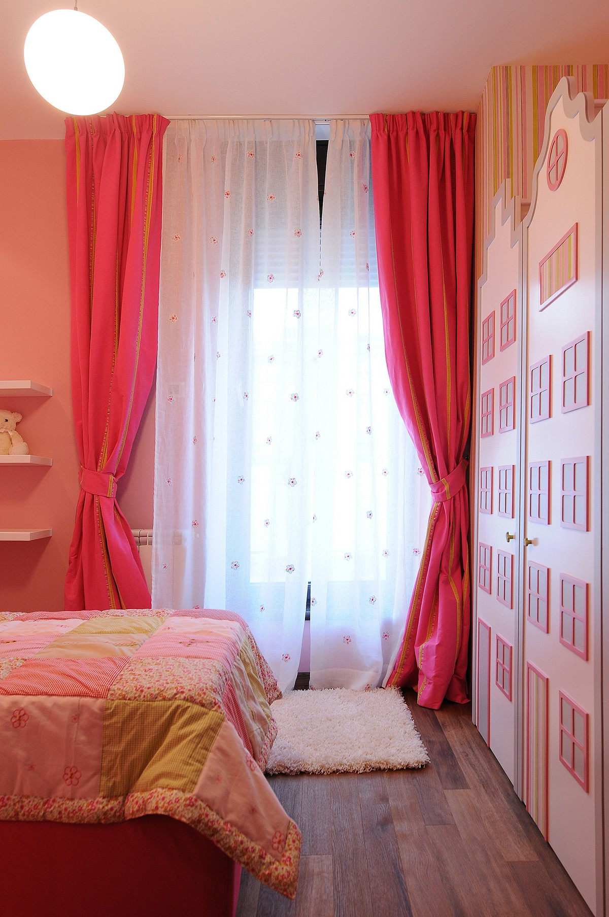 Luxurious Penthouse in Modern and Comfort Design: Barbie House Like Cabinet And Bright Window Decor Pink Curtain