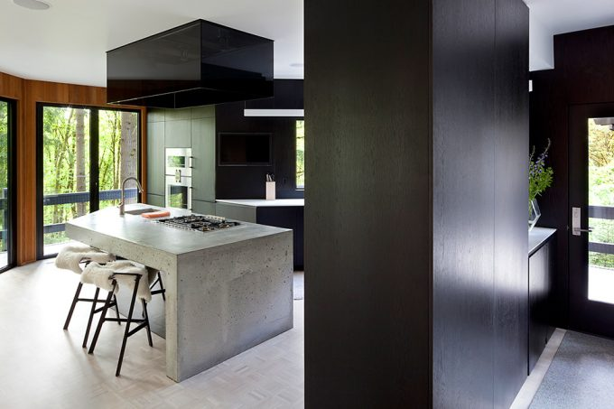 Beautiful Interio Design With Black Wall And Sool White Kitchen Island Design