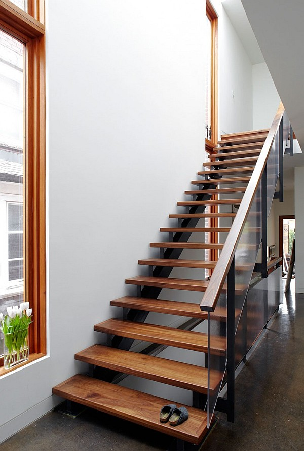 Beautiful Wooden Stairs Design With Glass Banister
