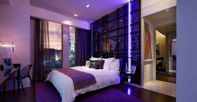 Beautiful Young And Comfort Bedroom Decor With Modern Purple Lighting