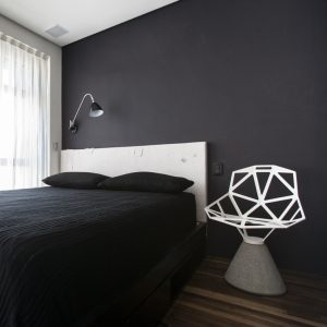 Black Neutral Bedroom On Second Floor With Large Window Design