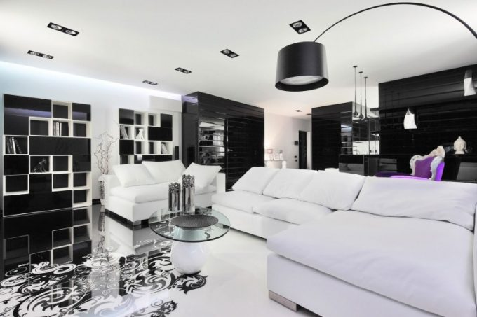 Black And White Living Room Decor With White Luxury Sofa And Black Standing Floor Lamp