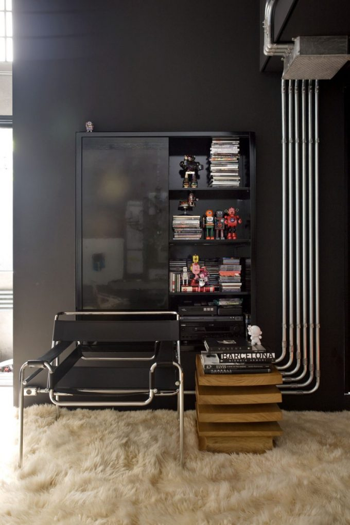 Black Wall And Black Furniture Exposed Wire