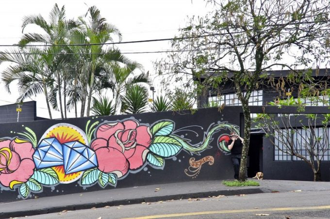 Black Wall Fence Wit Flower Painted
