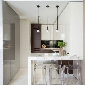 Brite Minimalist Kitchen With White Eating Table