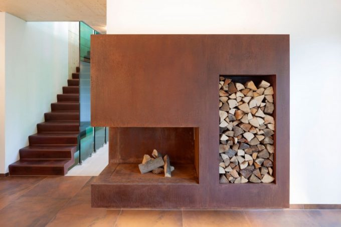 Brown Fireplace With Wood Stack Brown Tile Floor