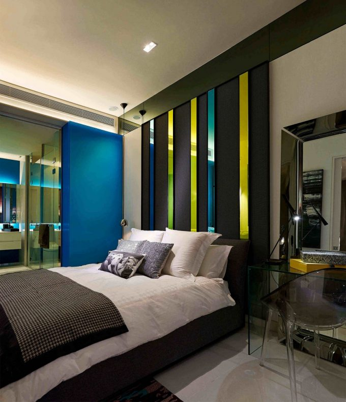 Colorfl Headboard With Sleek Bed Design Luxury Apartment In Kuala Lumpur