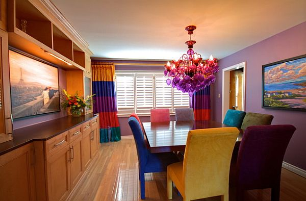 Colorful Dining Room With Square Table Contemporary Dining Table With Purple Chandelier