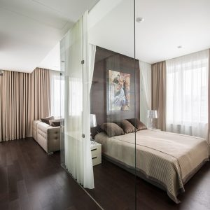 Comfort Small Bedroom Design With Glass Partition And Curtain For Blinds