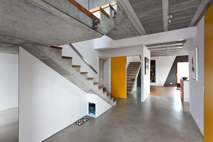 Concrete Ceiling Design White Wall And Yellow Accent With Grey Floor Contemporary Interior Design