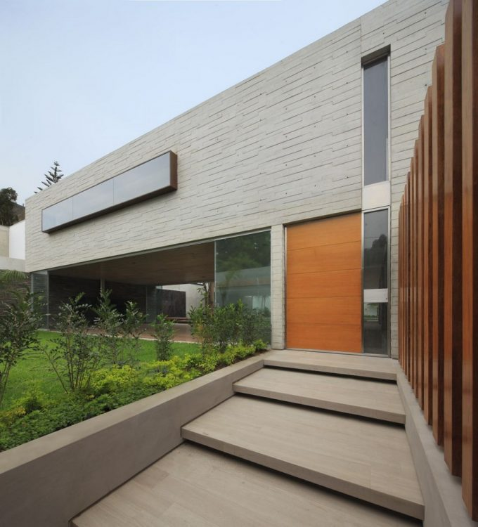 Concrete Floor Exterior And Wood Wall Decor