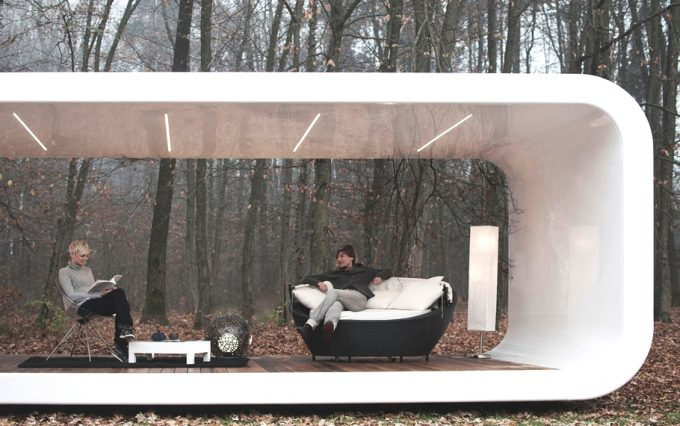 Contemporary Mobile Home Design With Wooden Floor And Cozy Couch Mobile Lounge Room Design