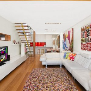 Contemporary Living Room Design With Long White Sofa And Colorful Art Painting Modern Wall Decor Ideas