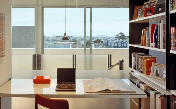 Cool Home Work Space Design With Bookcase And White Desk