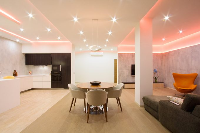 Design Modern Studio Apartment Use Bright And Perfect Light Color Modern Interior Lighting