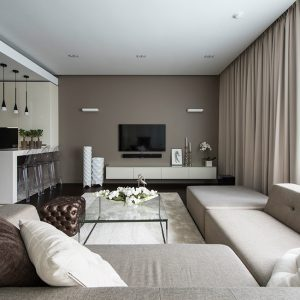 Details Of Living Space With Modern Sofa And 3 Transparent Stool