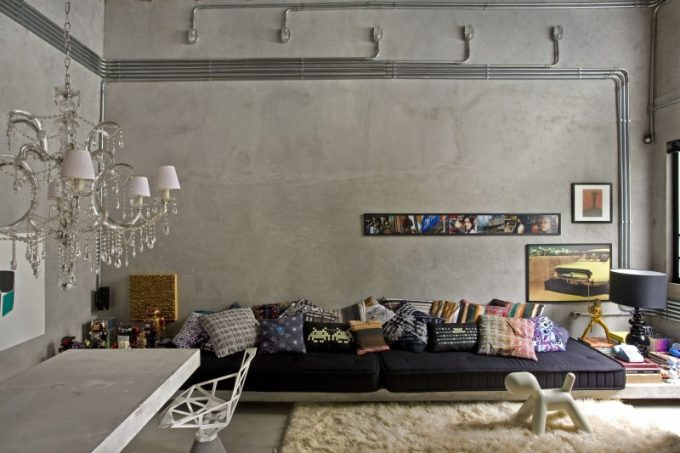 Exposed Concrete Wall With Modern Living Room Furniture