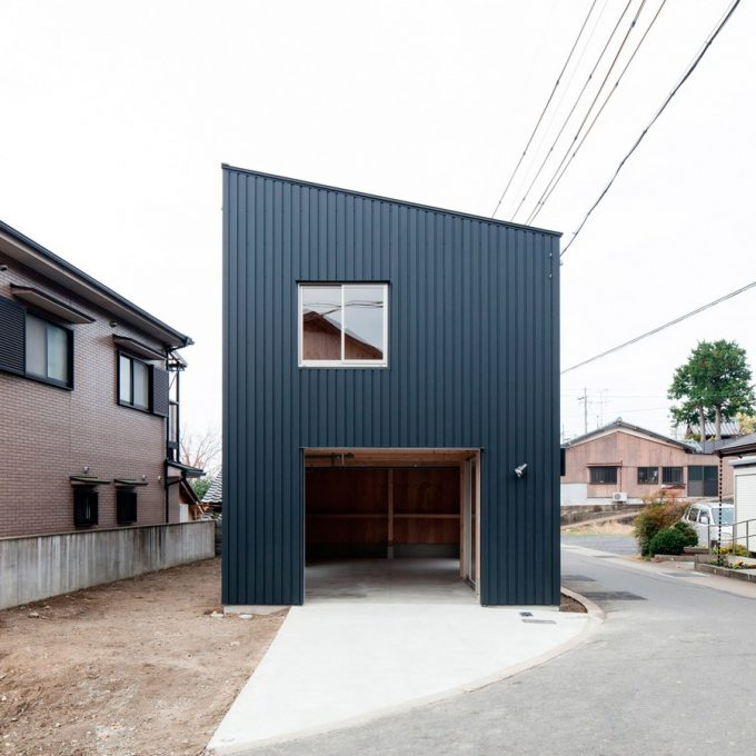Exterior Japanese House Black Steel Material Exterior With Garage In Ground Floor