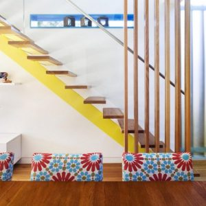 Fabuolus Foating Stair Design With Yellow Accent Modern Small House Remodeling