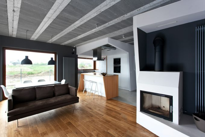 Firm Interior Design With Concrete Ceiling And Wooden Floor Design