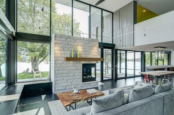 Floor To Ceiling Glass Wall Modern Living Room Decor