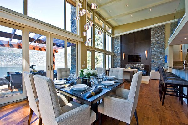 Dining Room: Posh Dining Room With Glass Table Artistic And Luxury ...