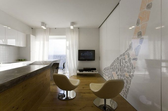 Integrated Interior With Open Space Decor For Minimalist Apartment Design