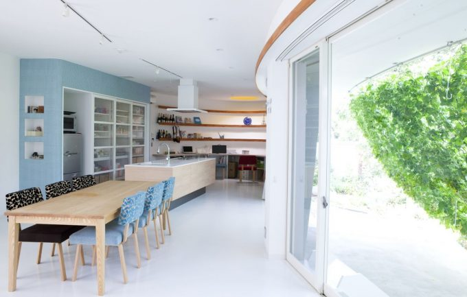 Integrated Work Space Minimalist Kitchen And Dining Area Design Green Contemporary House Design