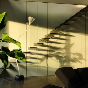 Interior Plant Decor And Floating Stair Design