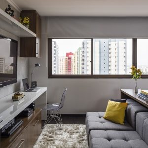 Interior Small Apartment With Tv Set And Work Space In One Table