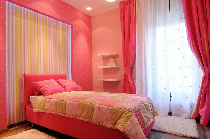 Kid's Bedroom In Pink Color Theme