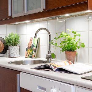 Kitchen Countertops Design White Color And Modern Sink And Faucet