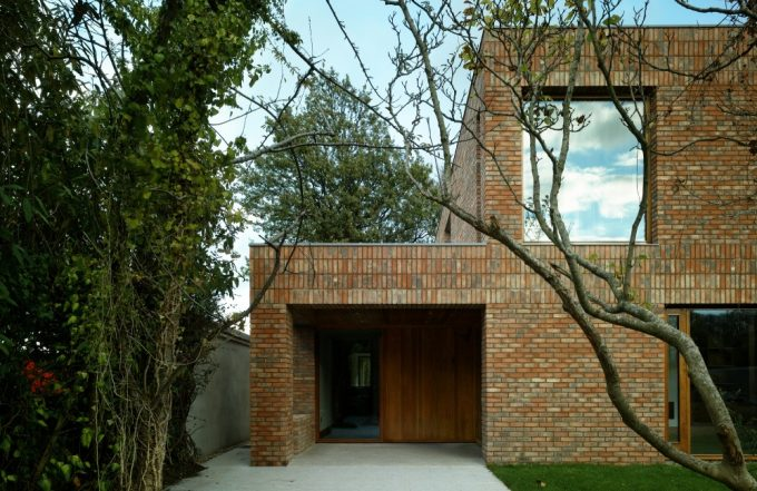 Lovely Bricks House Design Floor To Ceiling Glass Window Beautiful House Renovating