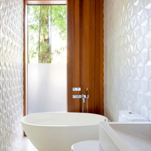 Minimalist Bathroom Design In White Color And Glass Window With Wooden Blind