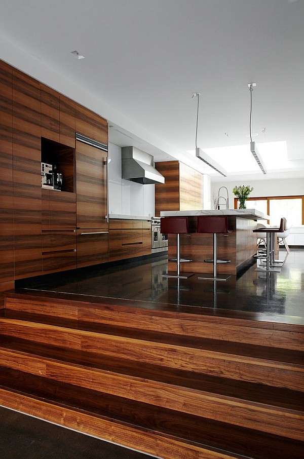 Minimalist Kitchen Design With Wooden Theme And Kitchen Island As The Center