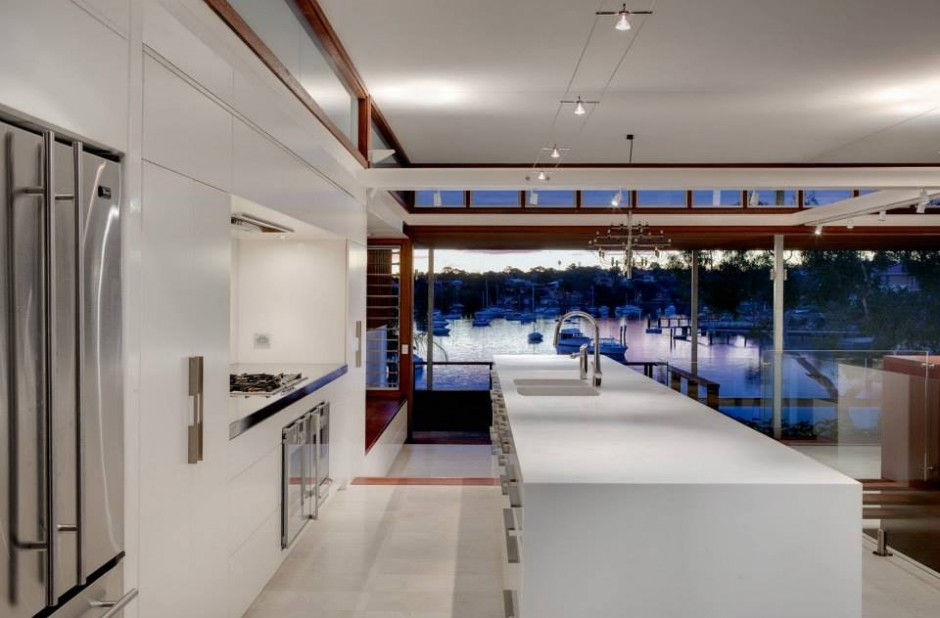 See the Beauty of Sidney Harbour from Multi-Level Home Concept: Modern Kitchen Details With Beutiful Bay View