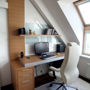 Modern Brief Small Work Space Design With Glass Window
