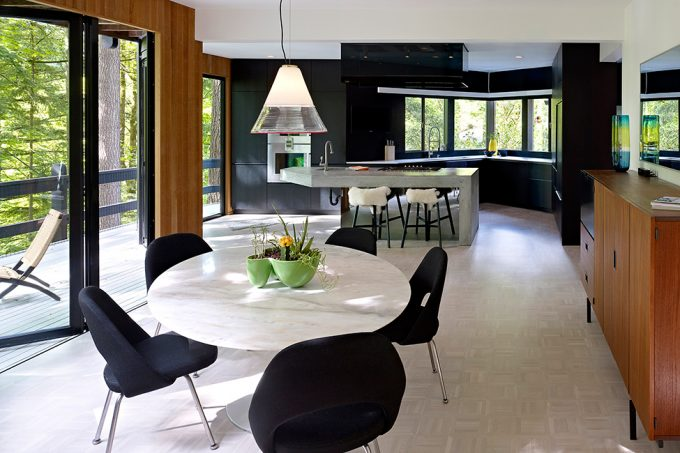 Modern Interior Residence With Balanced Color Artistic Dining Furniture Blackwall Wooden Accent Interior And White Floor