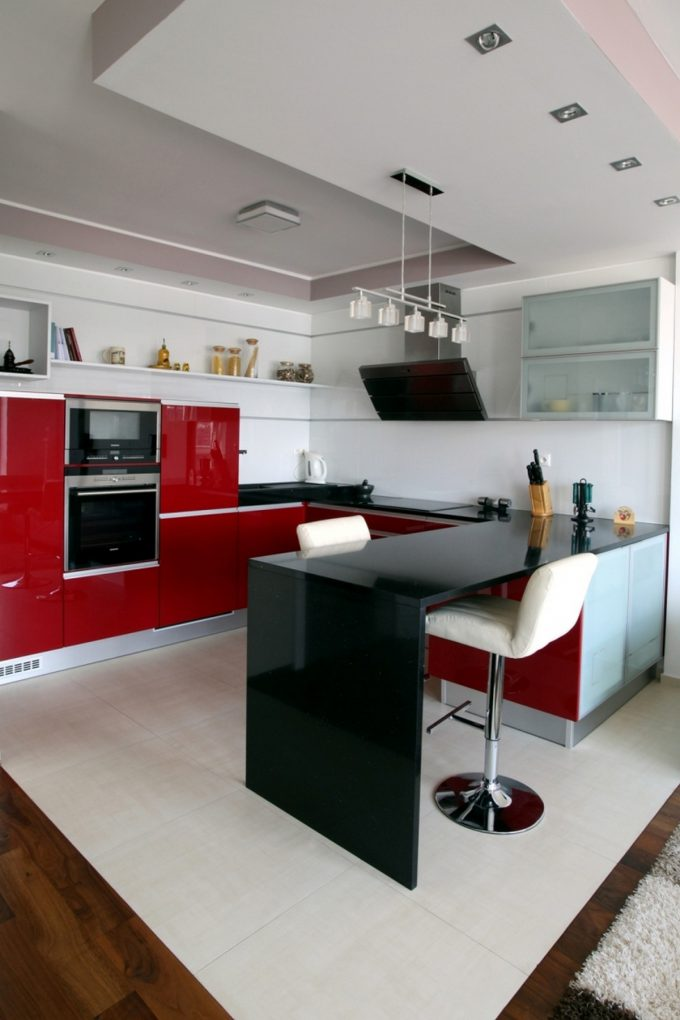 Modern Kitchen Design With Red Cabinet And White Flooring
