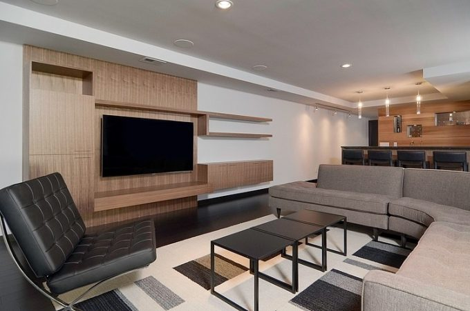 Modern Living Room Design With L Sofa Shape And Black Couch