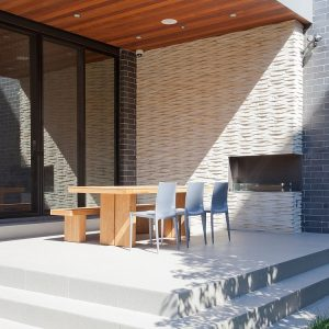 Modern Terrace With Beautiful Outdoor Fireplace Design Luxury House Design