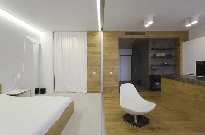 Open Space Interior Concept White Elegant Bedroom With Integrated Sosial Space Decor
