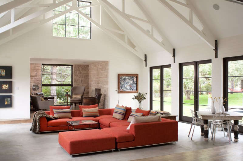 Red Maroon Sofa In The Living Room With White Interior