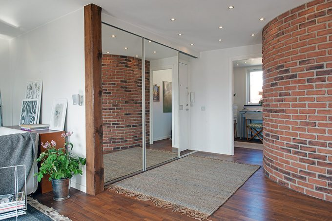Rustic Wall Interior Blend With Modern Glass Mirror