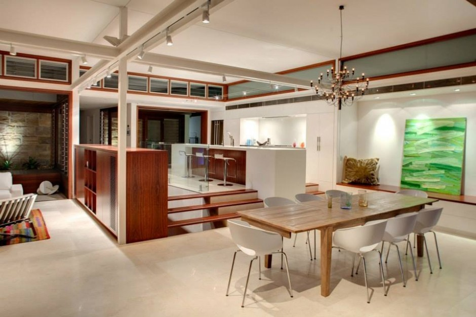 See the Beauty of Sidney Harbour from Multi-Level Home Concept: Simple Dining Space Design With Wooden Table And White Chair Ideas
